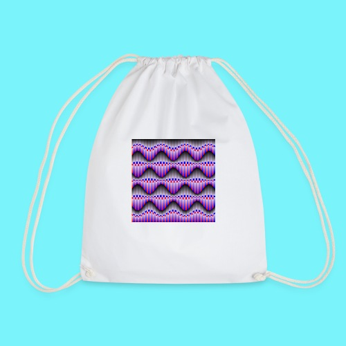 Sine waves in red and blue - Drawstring Bag