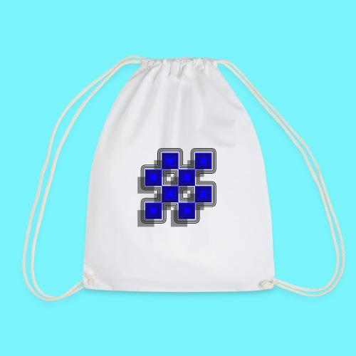 Blue Blocks with shadows and perimeters - Drawstring Bag