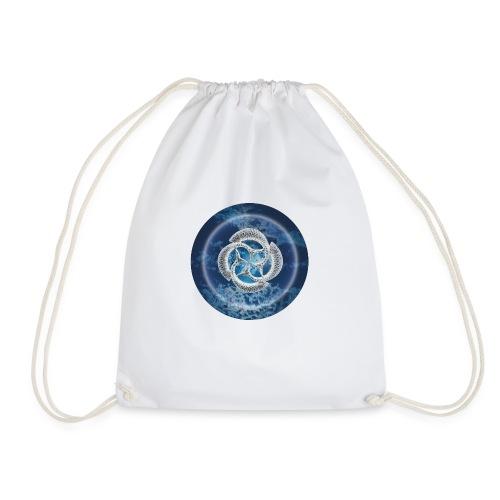 Blue Fish Circle - Drawstring Bag