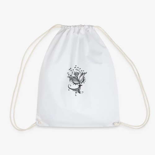 Black and white flower - Drawstring Bag