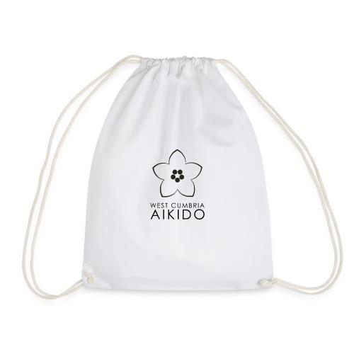 WEST CUMBRIA AIKIDO logo transparent BW - Drawstring Bag