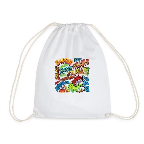 Comic Book Pop Art Colorful Typography Pattern - Drawstring Bag