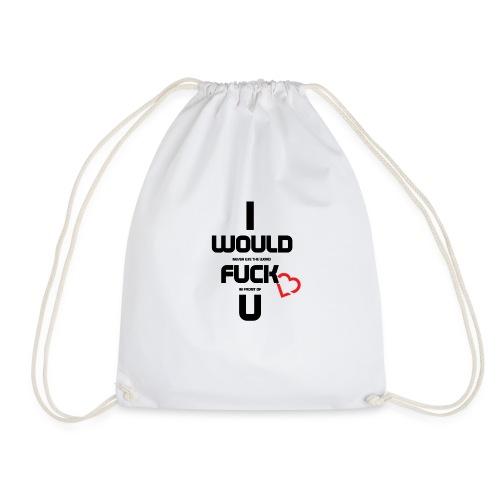Never fuck the Heart - Drawstring Bag