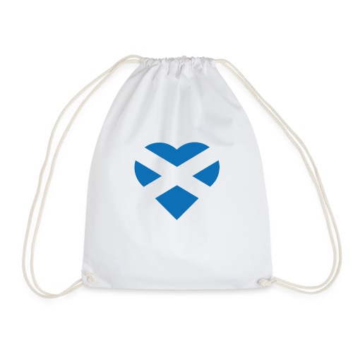 Flag of Scotland - The Saltire - heart shape - Drawstring Bag