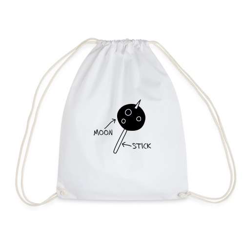 Moon on a Stick (white on dark background) - Drawstring Bag