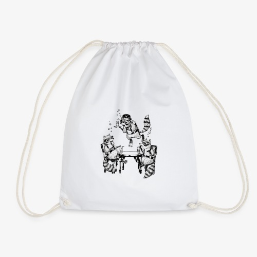 Raccoon Underwater Gin Party - Drawstring Bag
