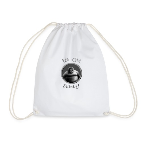 monke design uh oh stinky - Drawstring Bag