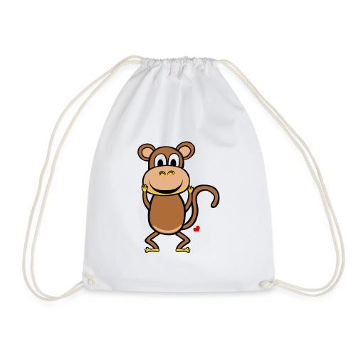Kocham Małpę - Biały napis - Worek gimnastyczny