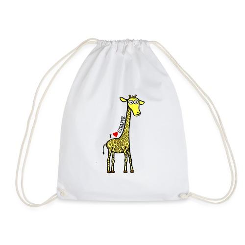 Kocham Żyrafę - Czarny napis - Worek gimnastyczny