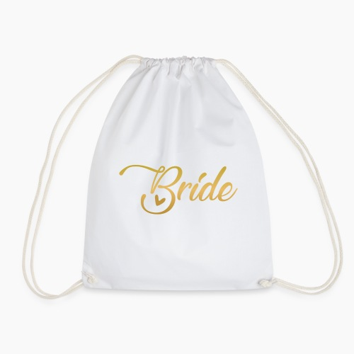Bride - yellow lettering with a decor. heart - Drawstring Bag
