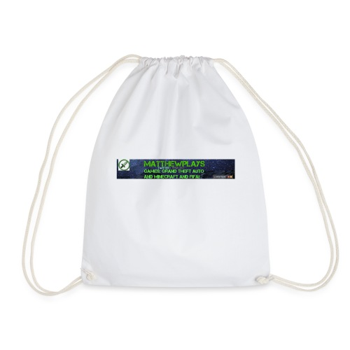 White YouTube Banner Tee - Drawstring Bag