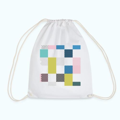 Abstract art squares - Drawstring Bag
