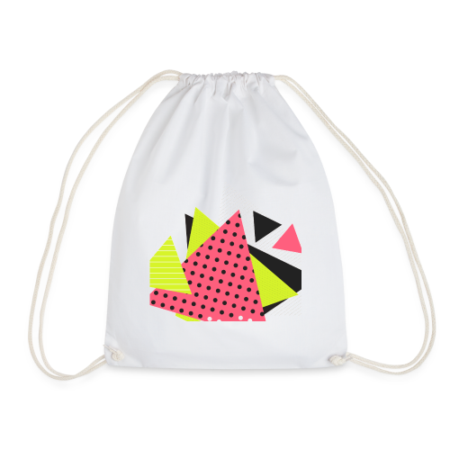 Neon geometry shapes - Drawstring Bag