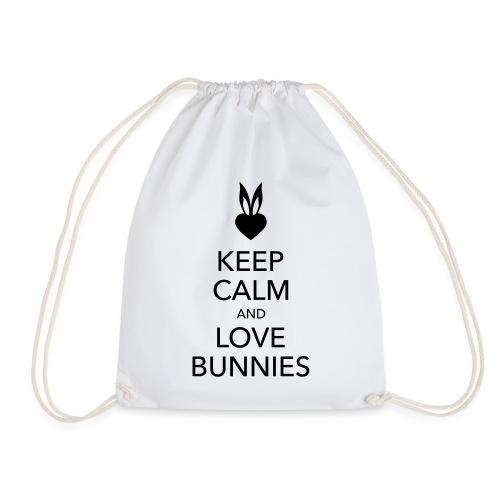 keep calm and love bunnies Hasen Liebe Herz - Turnbeutel
