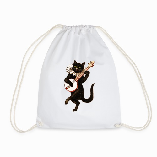 vintage cat - Drawstring Bag