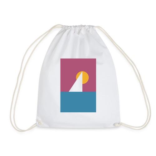 Geometrisches Segelboot vor der Sonne - Drawstring Bag