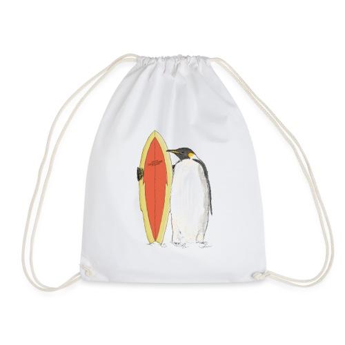 Ein Pinguin mit Surfboard - Turnbeutel