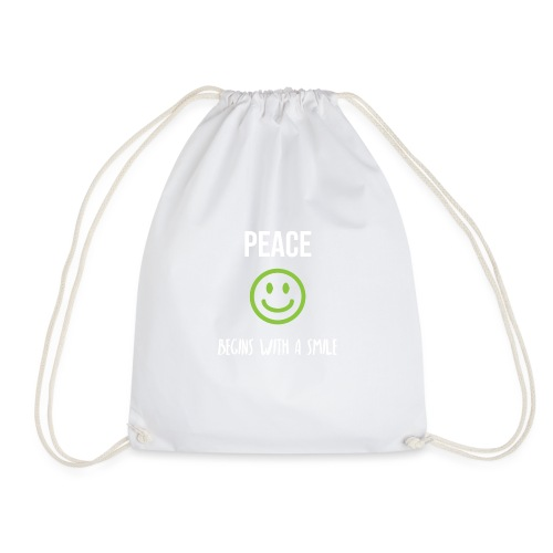 Peace Begins with a Smile - Drawstring Bag