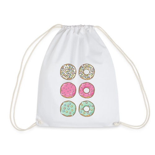 white,pink and light blue donuts - Drawstring Bag