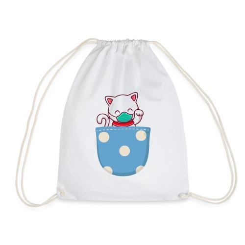 Gatito blanco en bolsillo de bolitas - Mochila saco