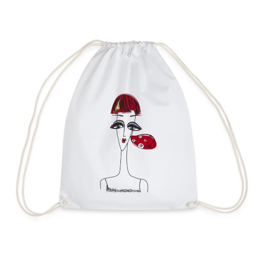 Woman's face with earring - Drawstring Bag