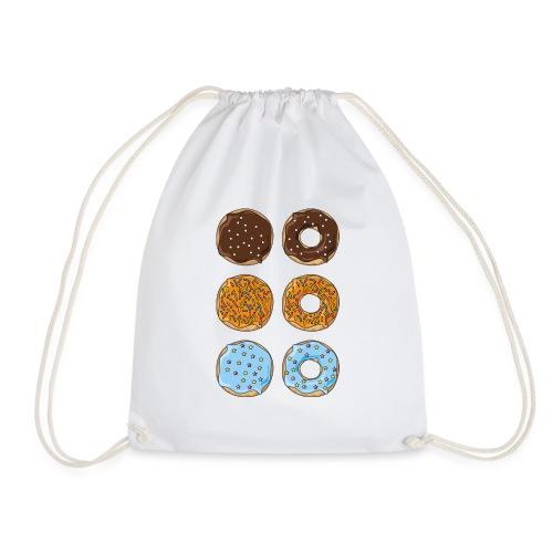 brown,orange and blue donuts - Drawstring Bag