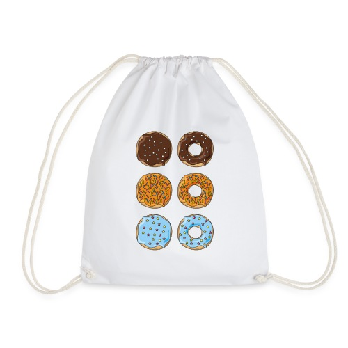 brown,orange and blue donuts - Drawstring Bag