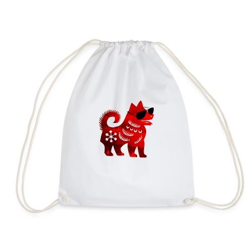 roter Hund Scherenschnitt 2 - Turnbeutel