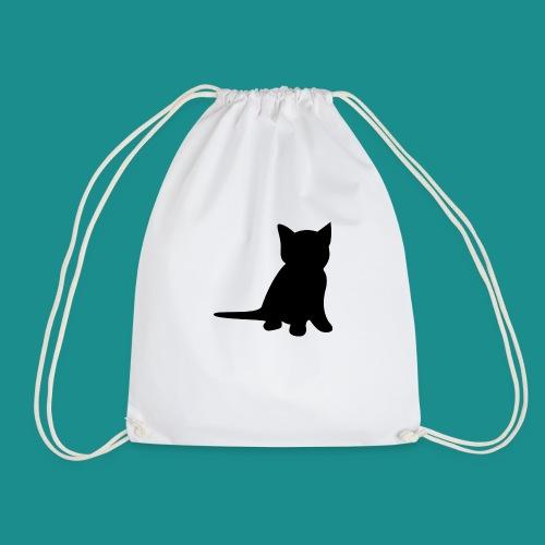 Cat silhouette clean design - Drawstring Bag