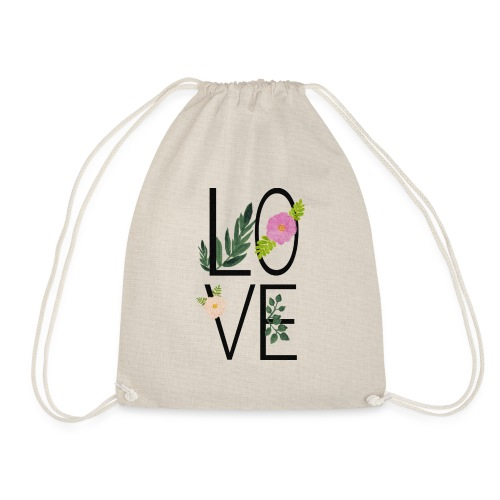 Love Sign with flowers - Drawstring Bag
