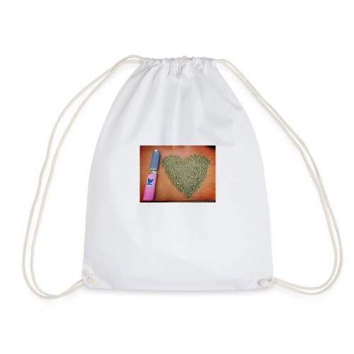 cannabis weed heart - Drawstring Bag