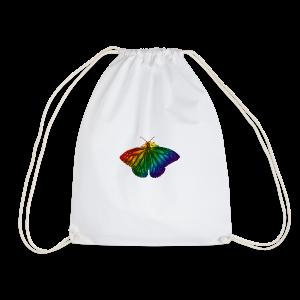 Regenboog vlinder - Freedom, Love en Happiness - Gymtas