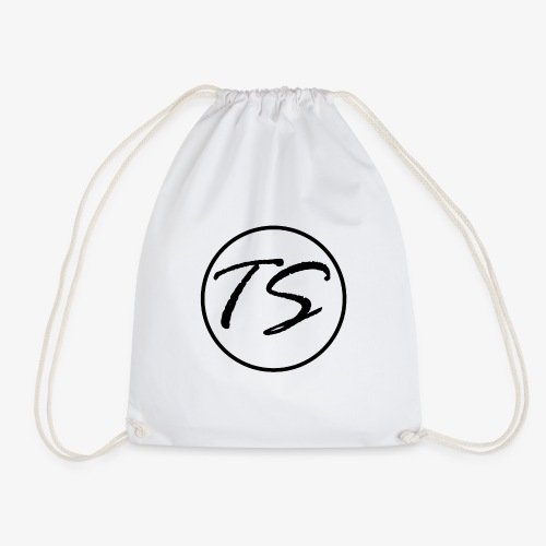 Tom Stevens Logo (just TS) BLACK - Drawstring Bag