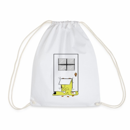 Stuck in a door dog - Drawstring Bag