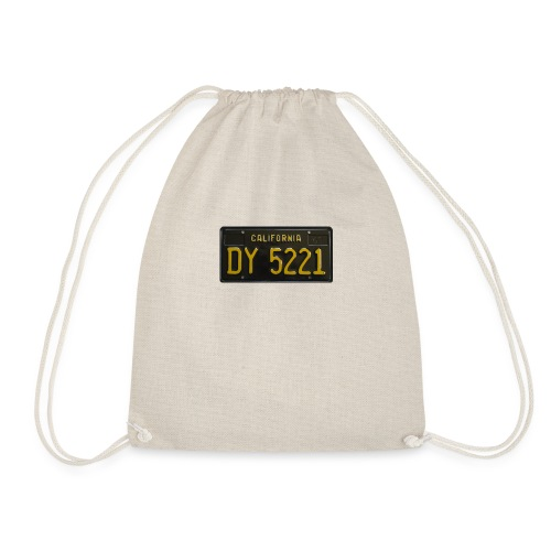 CALIFORNIA BLACK LICENCE PLATE - Drawstring Bag