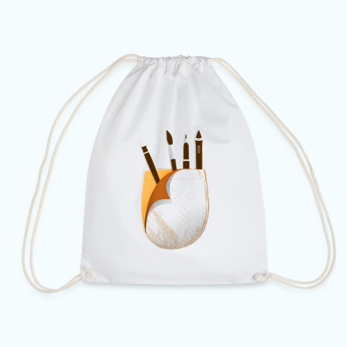 Printed breast pocket large in the middle - Drawstring Bag