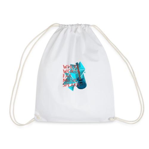 Where Words Fail Music Speaks - LC Designs - Drawstring Bag