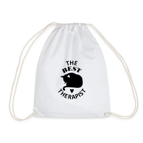 Cat The Best Therapist Shirt - Drawstring Bag