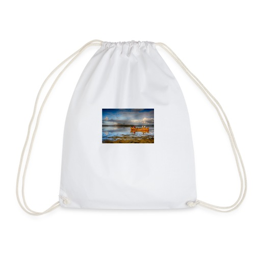 yellow boat on the sea over blue sky - Drawstring Bag