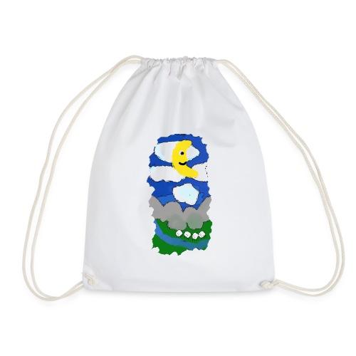 smiling moon and funny sheep - Drawstring Bag