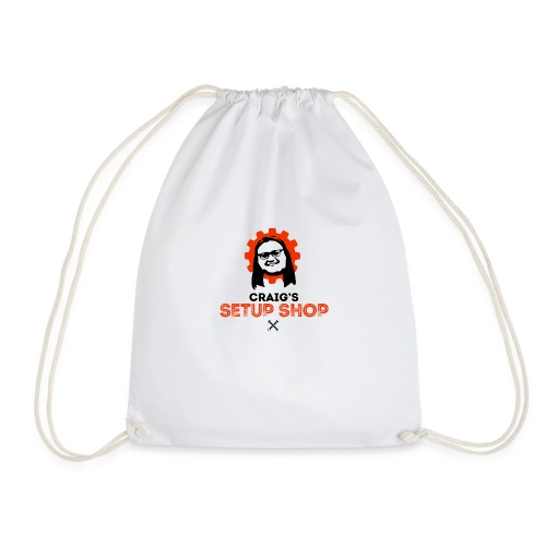 Craigs Setup Shop on White - Drawstring Bag