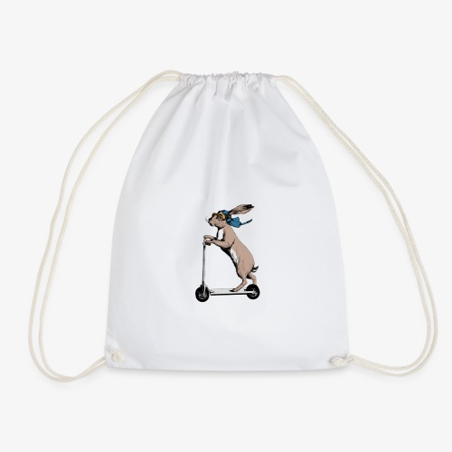 Scootering Hare - Drawstring Bag
