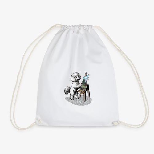 Bichon Frise Painter - Drawstring Bag
