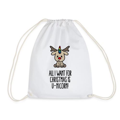 Funny All I want for Christmas is U-nicorn Gift - Drawstring Bag