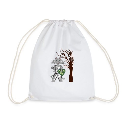 halloween cat with tree - Drawstring Bag