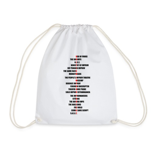 British Improv Project - Groups Acrostic (Black) - Drawstring Bag