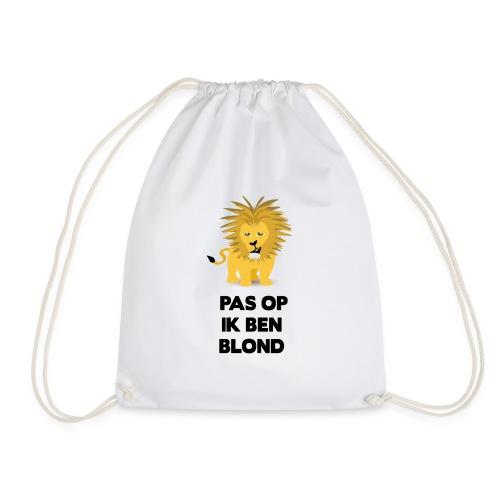 Pas op ik ben blond een cartoon van blonde leeuw - Gymtas