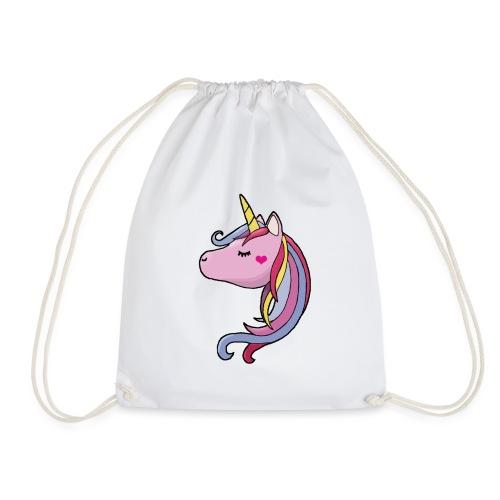 Unicorn enhörning söt rosa lila hjärta häst - Gymnastikpåse