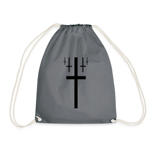 cross christus god jesus black - Drawstring Bag