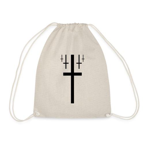 cross christus god jesus black - Drawstring Bag